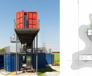 A Colorful Shipping Container Workspace On A Concrete Manufacturing Site