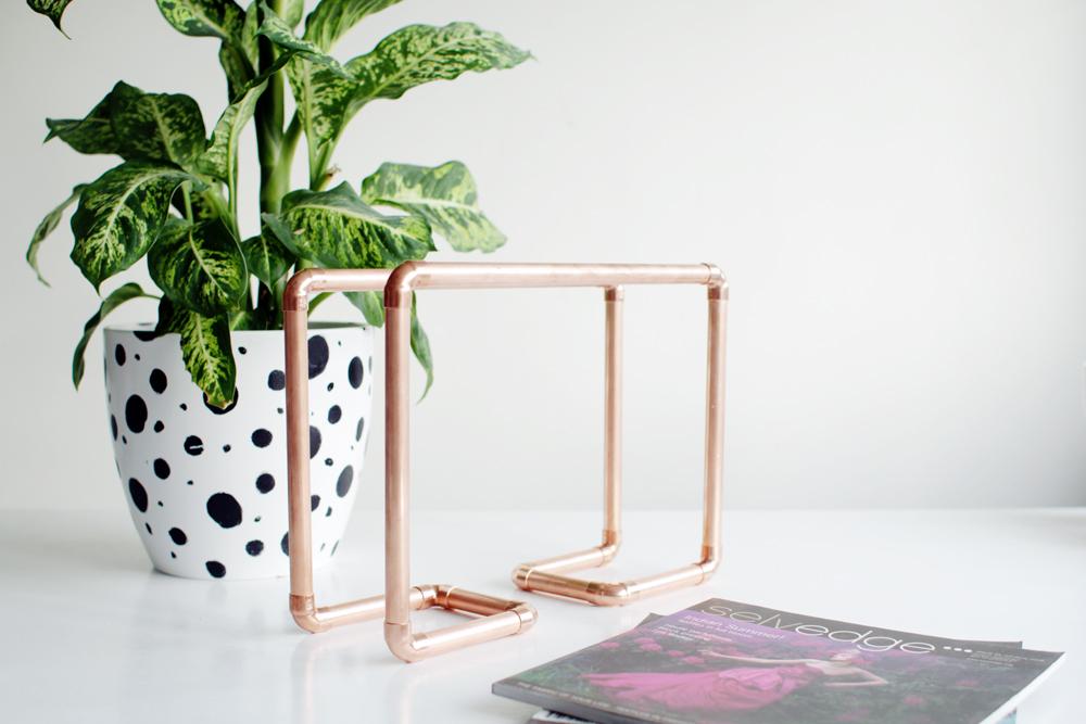 Copper pipe magazine rack