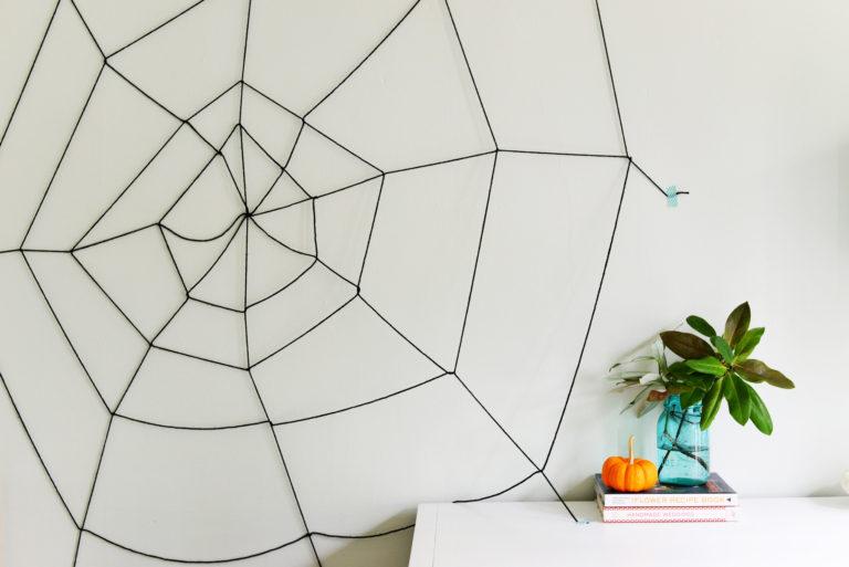 DIY Halloween Yarn Spider Web