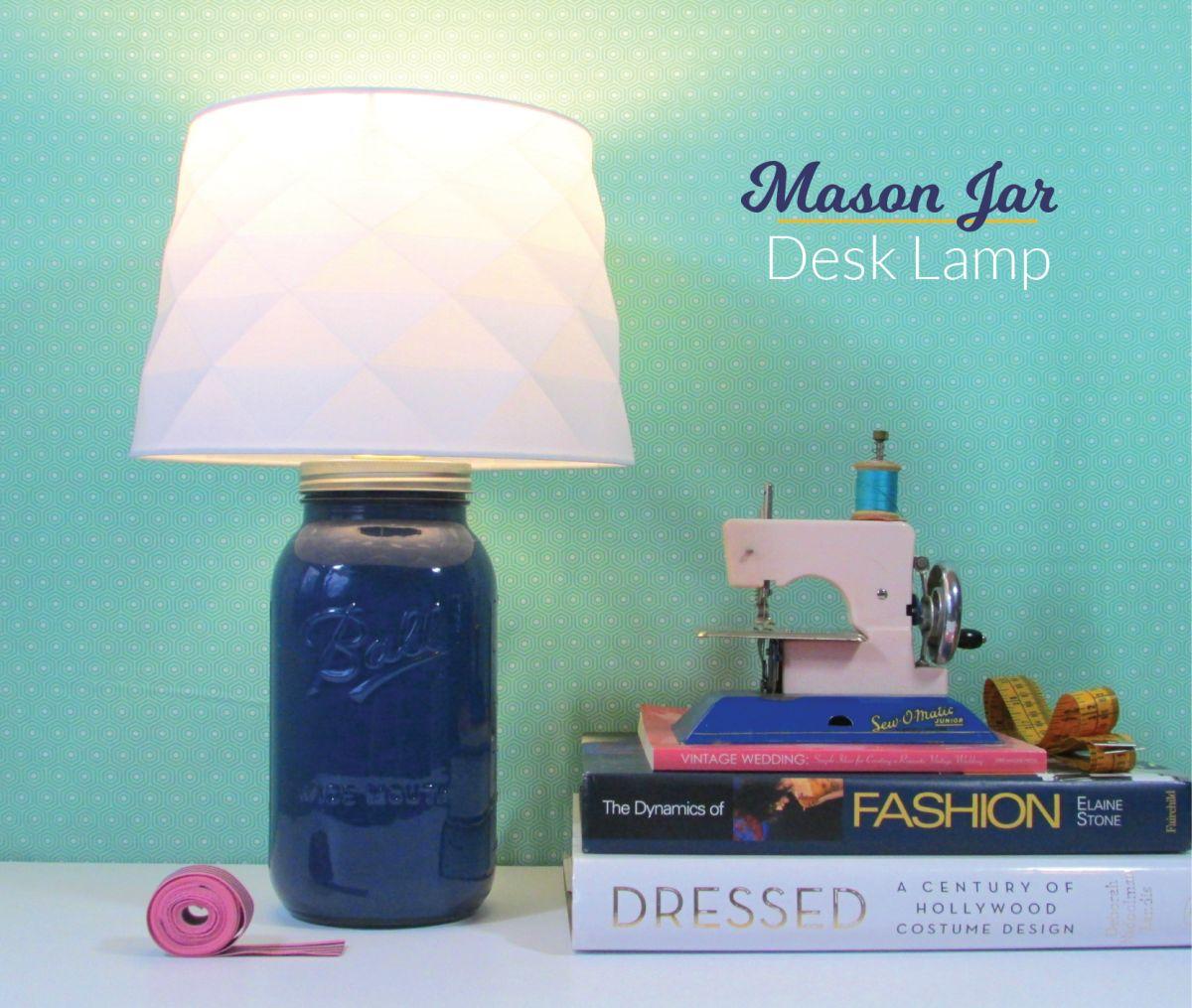 Repurposed jar desk lamp