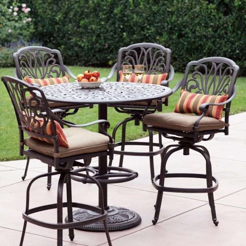 Outdoor High Top Table And Chairs, Solid Cast Aluminum Patio Furniture