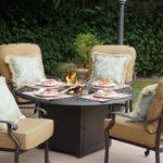 Darlee Santa Monica 5 Piece Cast Aluminum Patio Fire Pit Conversation Seating Set