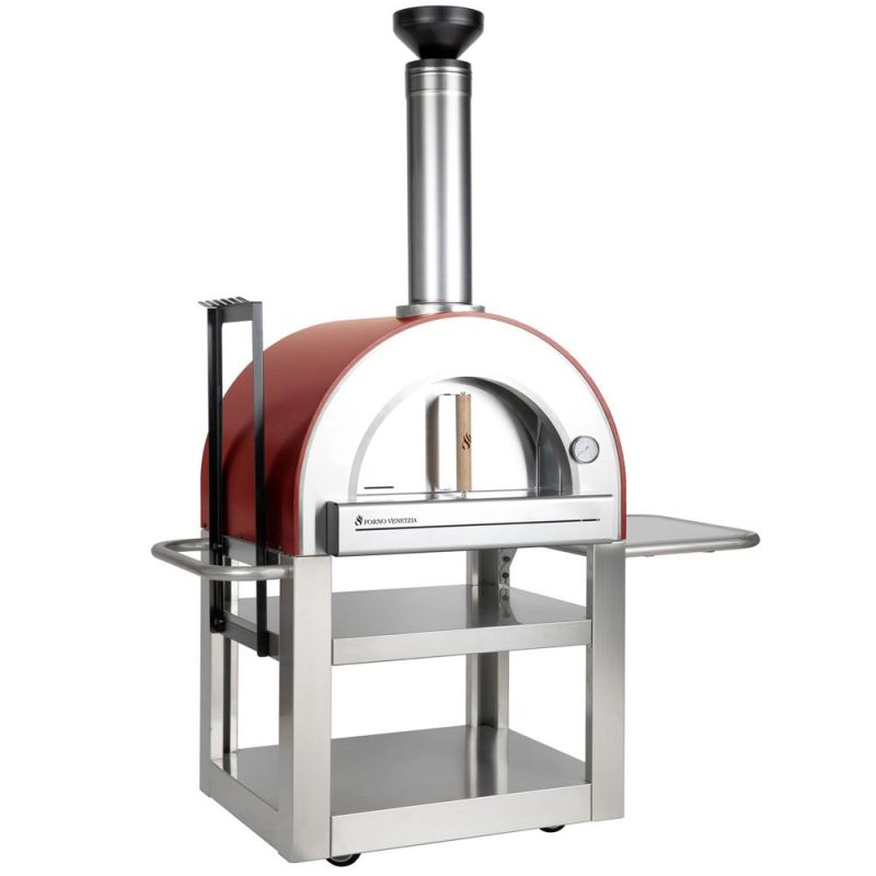 Forno Venetzia Pronto 500 33-Inch Outdoor Wood-Fired Pizza Oven - Red