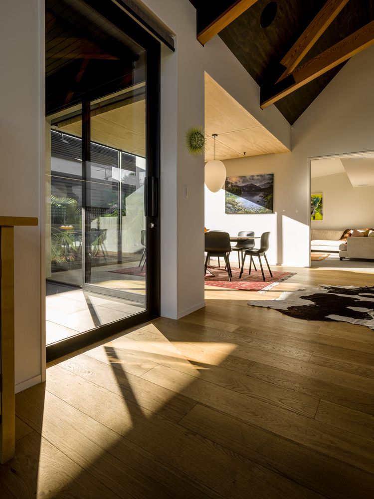 Warm natural wood was used for the flooring and various other surfaces, making the living areas feel very inviting
