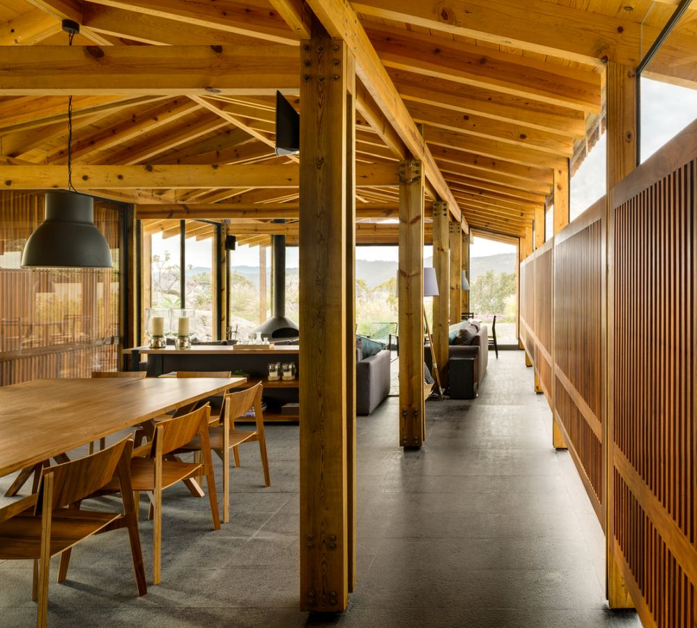 Wood, stone and glass are the primary materials used throughout the entire house