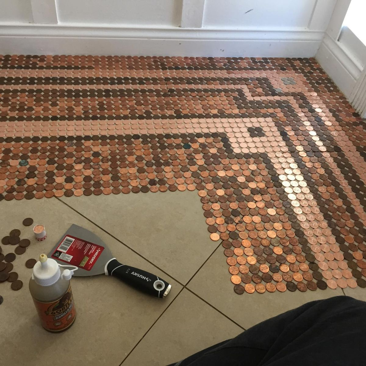 A Floor Covered In Pennies - How It's Done And What It Takes