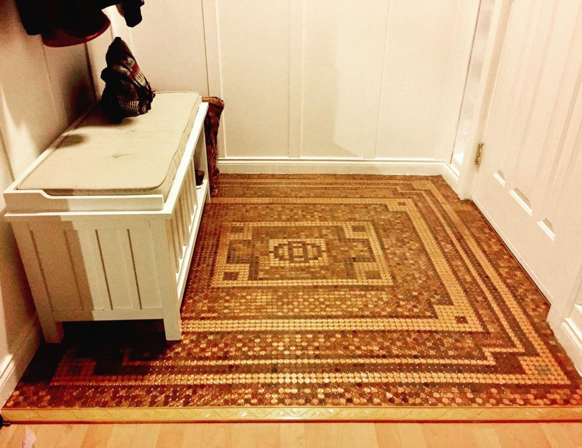 A penny floor is a great way to make a small and otherwise forgettable space stand out