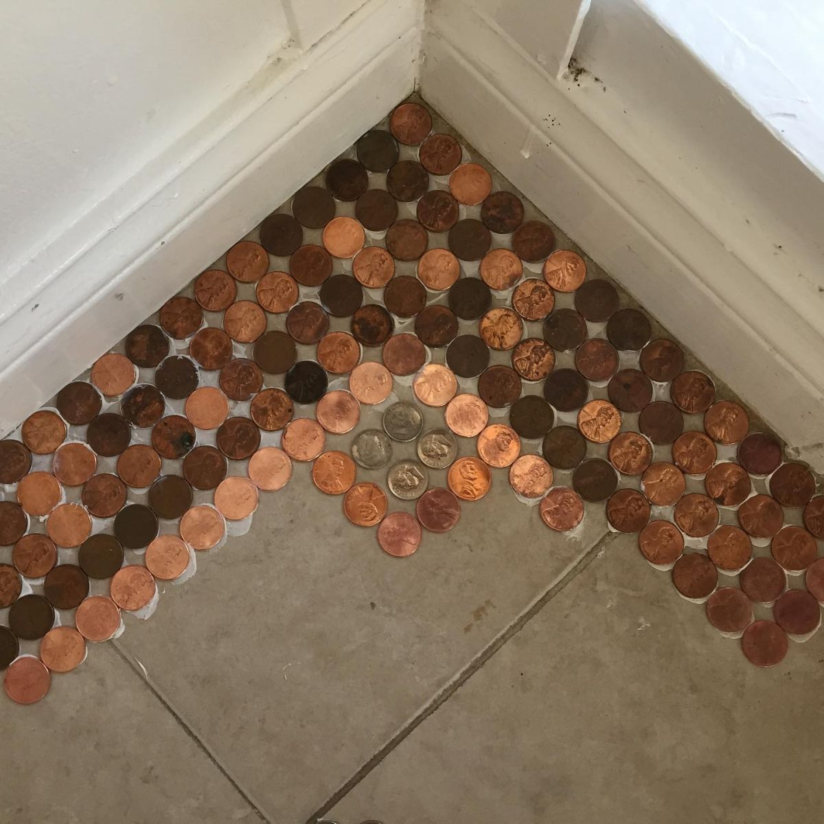When you're designing your own penny floor, start from a corner to make sure everything lines up in the end