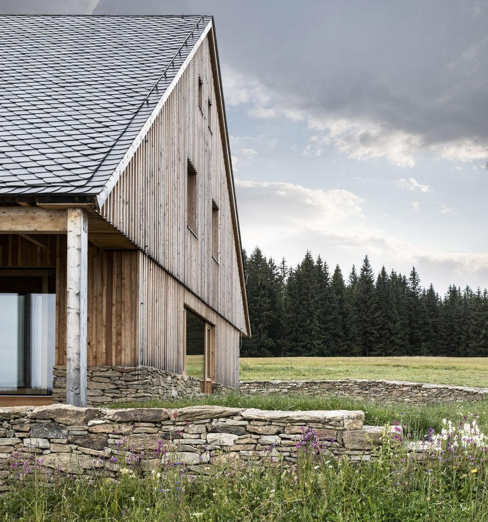 Natural materials and modest finishes were used in order to help the chalet blend in