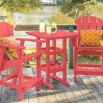 Pawleys Island Sunrise 3 Piece Poly Lumber Patio Counter Height Bar Set