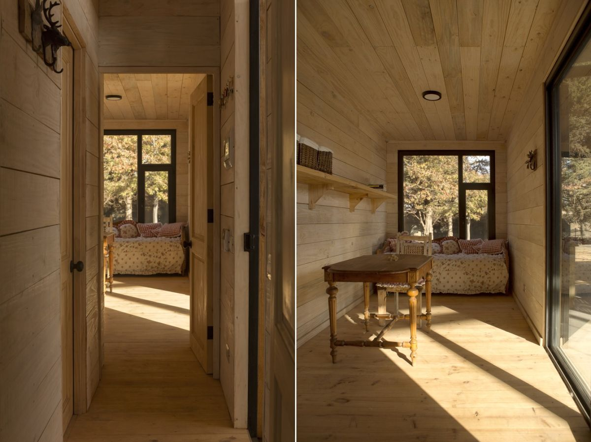 The interior of this container feels very warm and cozy and makes use of lots of wood