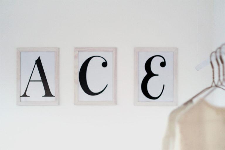 Framed letter wall art