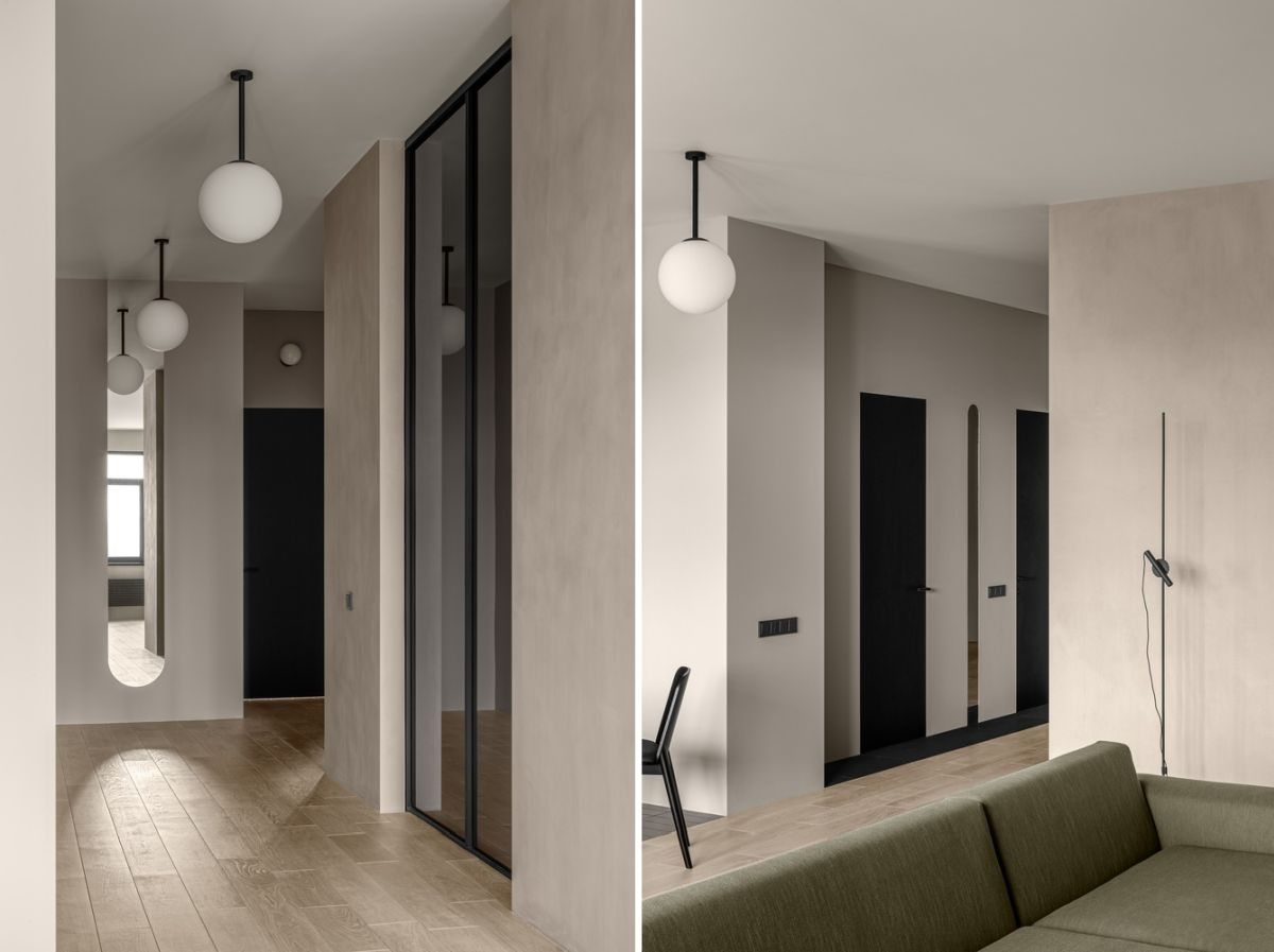 Decorative mirrors and glass partitions help to highlight certain sections of the apartment and to add interest to the design