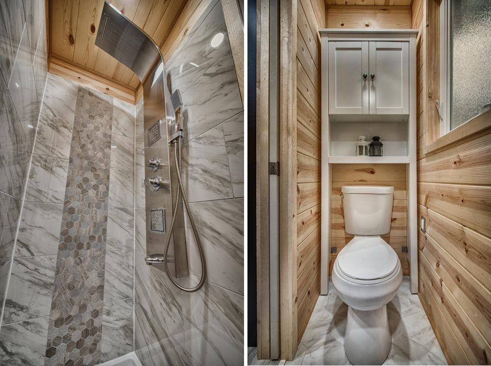 The bathroom is just big enough for a shower, a toilet area and a small storage cabinet