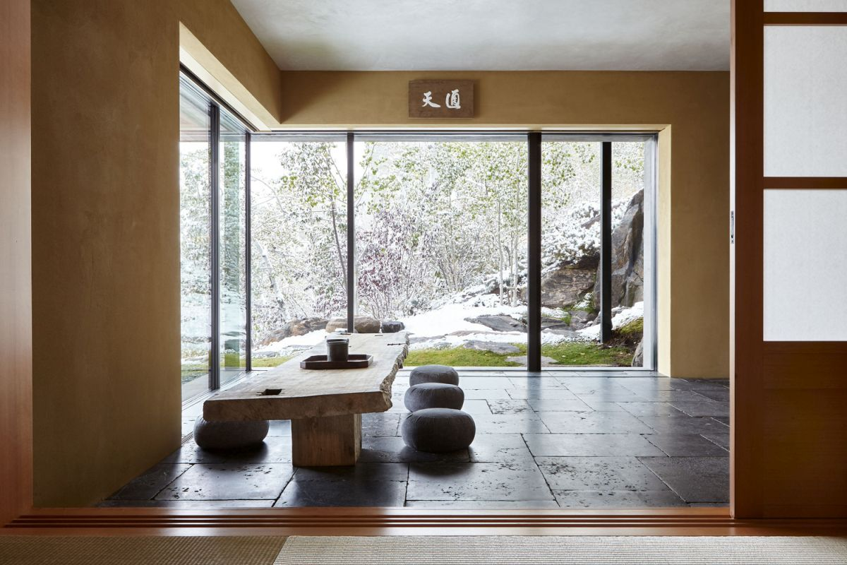 One of the focal points of this unusual house is the tea room which is designed in a traditional Japanese style