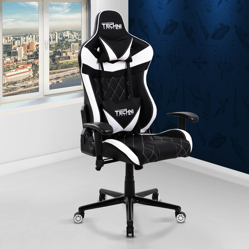 Black and white Racer Video Gaming Chair