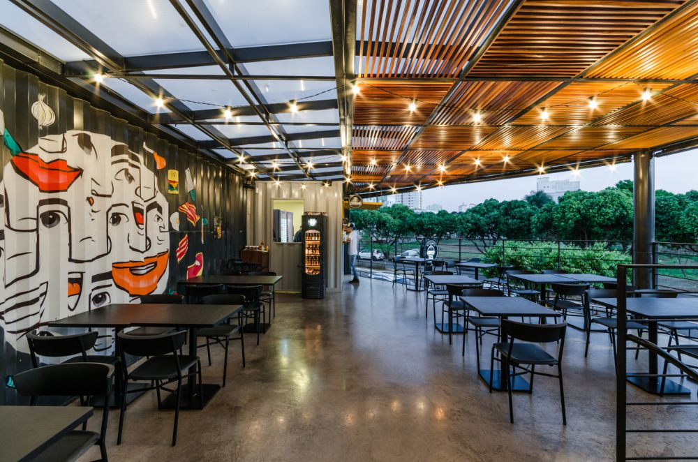 Urban art adorns the walls and adds color and character to the restaurant and its surroundings