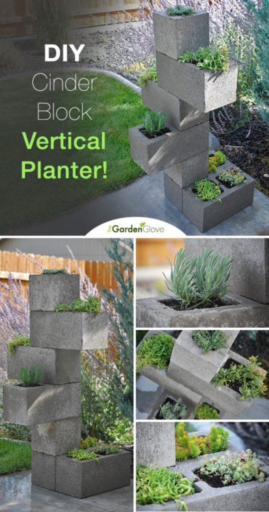 planter box ideas DIY Cinder Block Vertical Planter