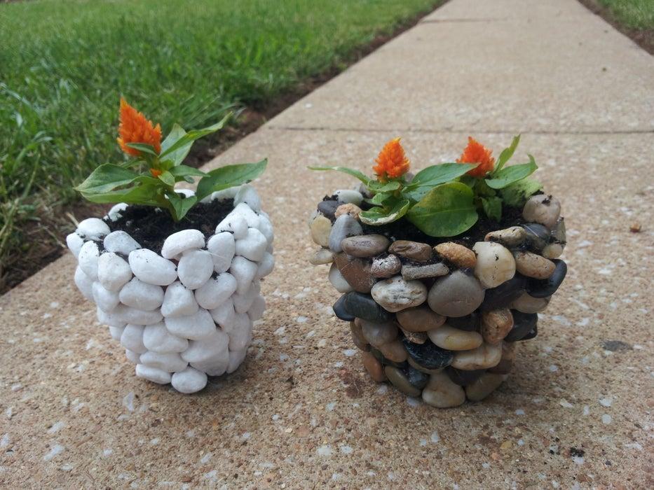 planter box ideas DIY River Stone Planter