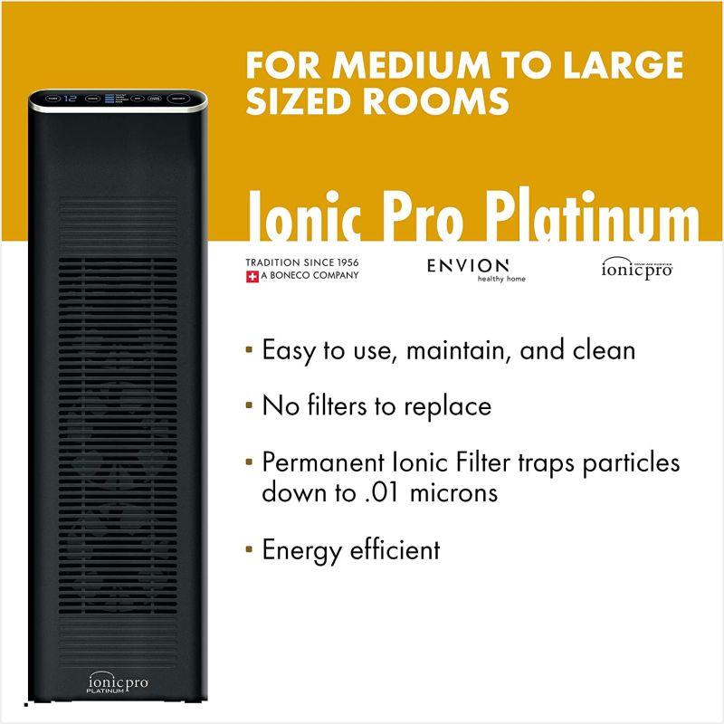 Envion by Boneco - Ionic Pro Platinum - Negative Ion Air Purifier Tower
