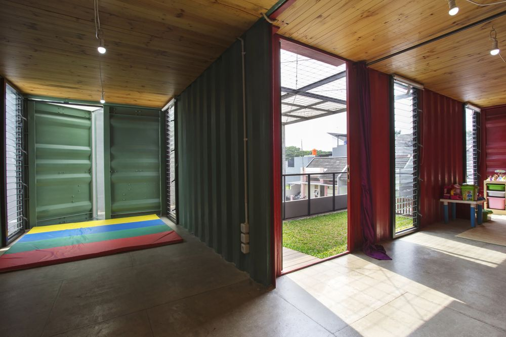 Indonesia Container for Urban Living Atelier Riri colorful - Industrial Family Home Made From Shipping Containers And Reclaimed Pallets