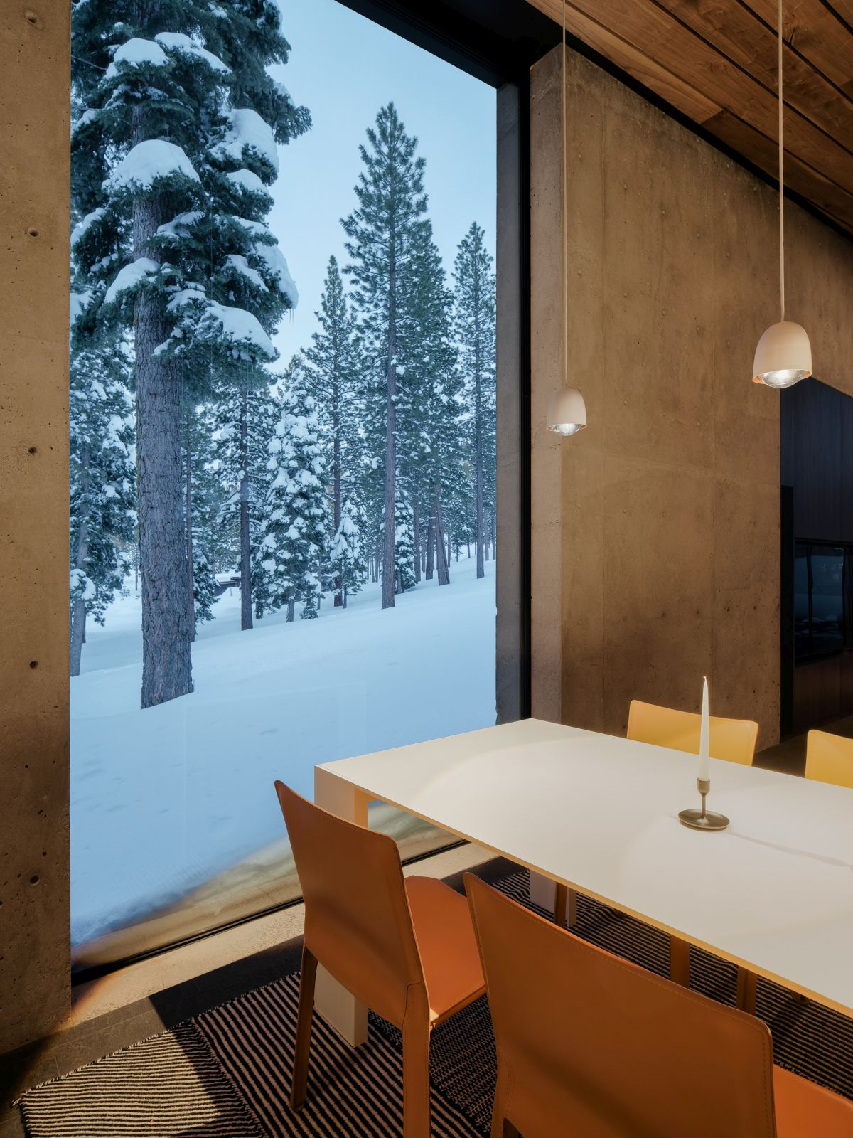 The dining area enjoys a tranquil and relaxing view of the nearby trees
