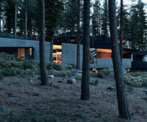 A Beautiful House Surrounded By Volcanic Landscape and Tall Trees