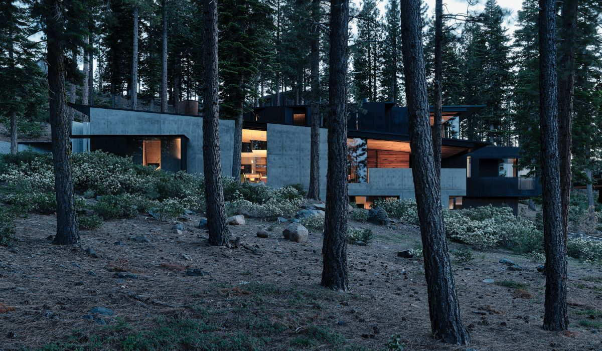 The house follows the angle of the slope, becoming one with the land and looking at home among the trees