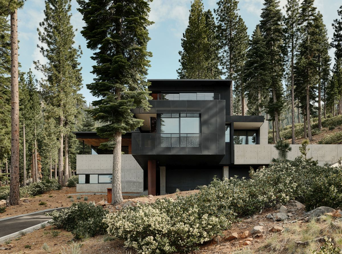 The house has a simple clean exterior with muted finishes