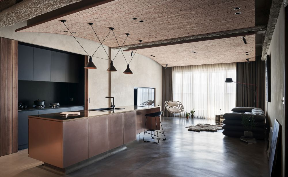 The colors throughout the entire home are muted, earthy and generally warm