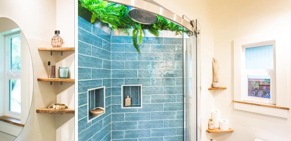 The bathroom has a shower skylight and two small windows which give it an outdoor-inspired feel