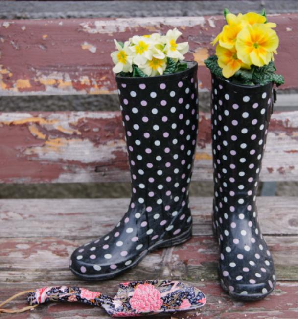 planter box ideas Rain Boot Planters