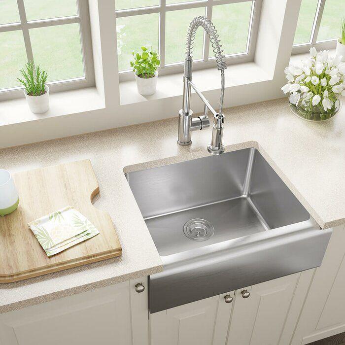 """Stainless Steel 24"""" x 20"""" Farmhouse/Apron Kitchen Sink"""