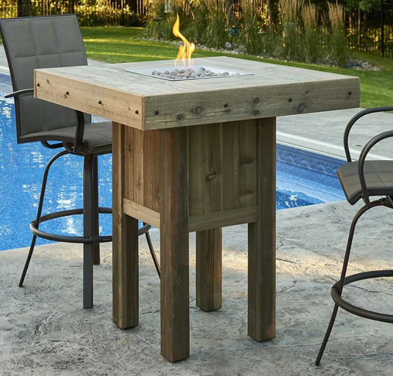 Backyard With A New Patio Bar Table, Outdoor Bar Height Pub Tables