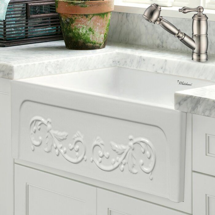 """WHITE Glencove St. Ives 33"""" L x 20"""" W Apron Kitchen Sink"""
