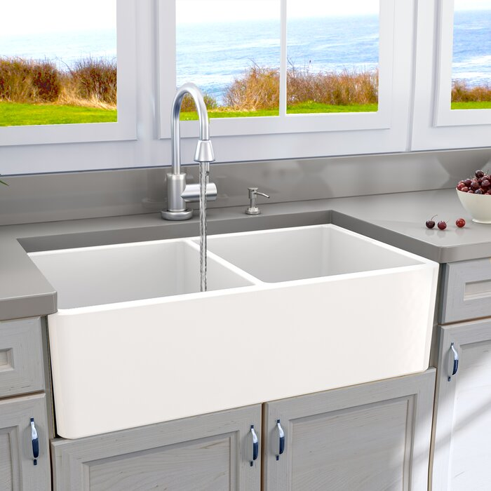 Double Basin Farmhouse Kitchen Sink with Grids and Drains