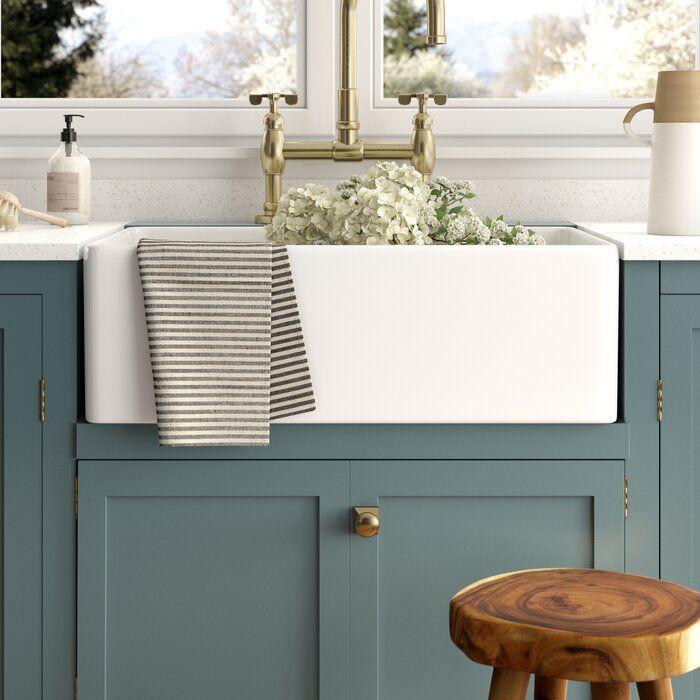 "Kir 33"" L X 20"" W Farmhouse Kitchen Sink with Basket Strainer"