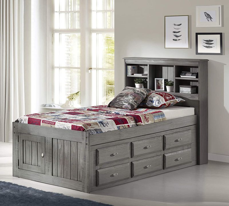 Bookcase Designs That Double As Headboards, Queen Captains Bed With Bookcase Headboard