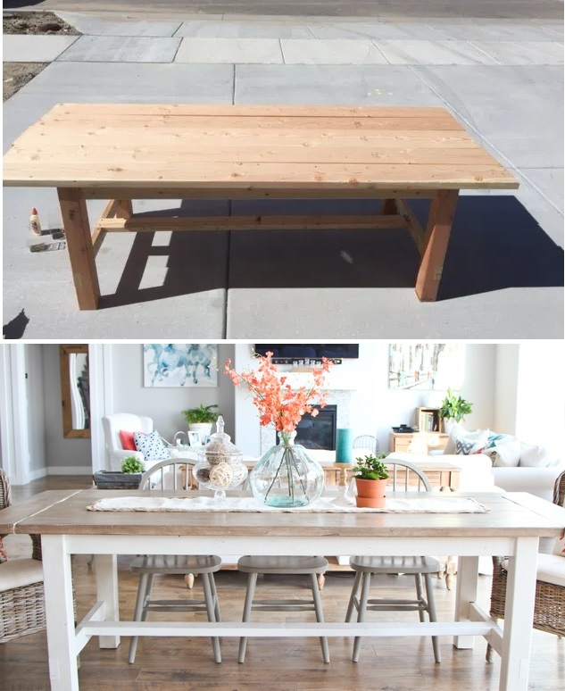 DIY farmhouse table with matching benches