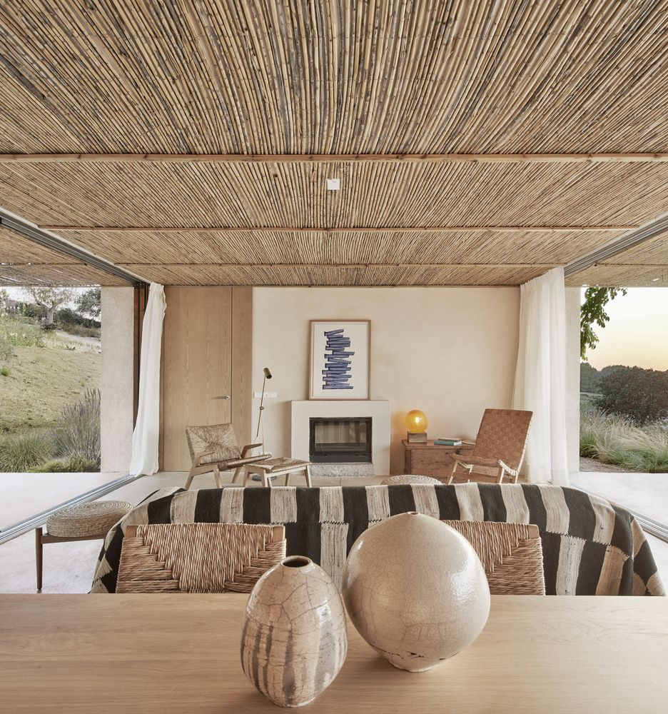 Neutral and earthy colors add a beach-inspired look to the interior of the house