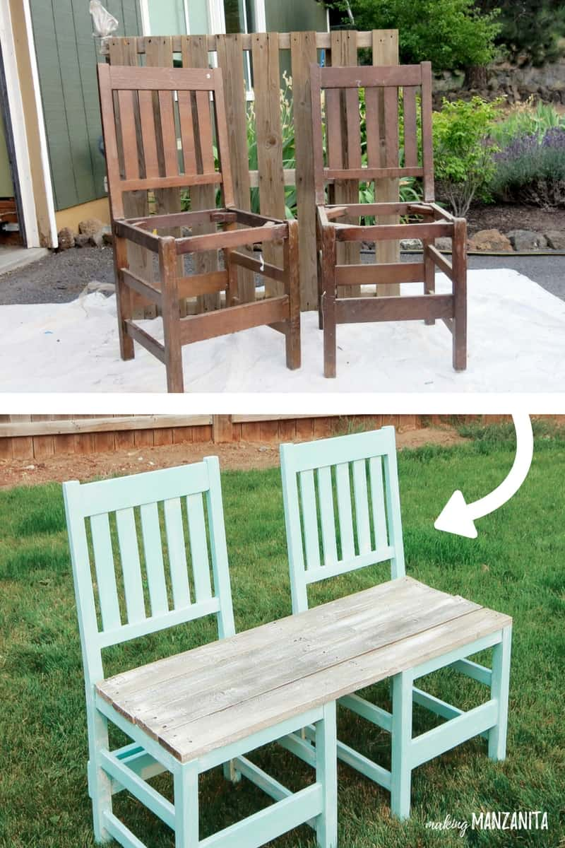 A couple of old chairs turned into a garden bench
