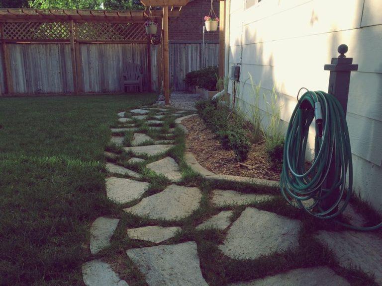 Flagstone pathways through the yard and garden