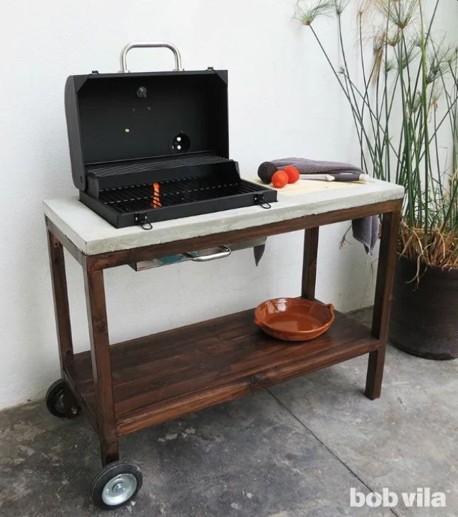 A grill table for the outdoor kitchen