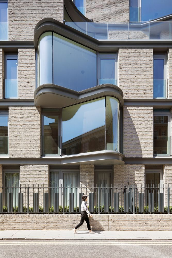 The architects relied on bow windows to give the facades an interesting and contemporary look