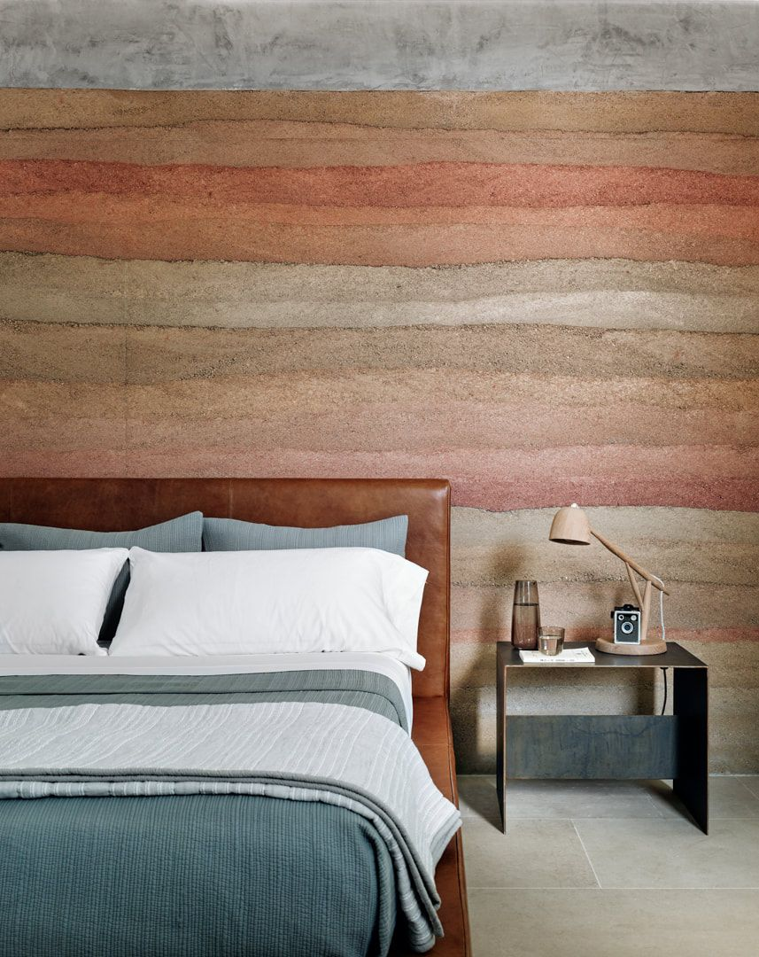 The layered accent wall design is integrated into various different parts of the house