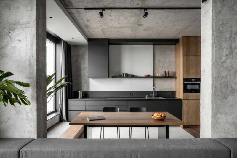Monochromatic Apartment With A Timeless Concrete Interior And A Cool Bathroom