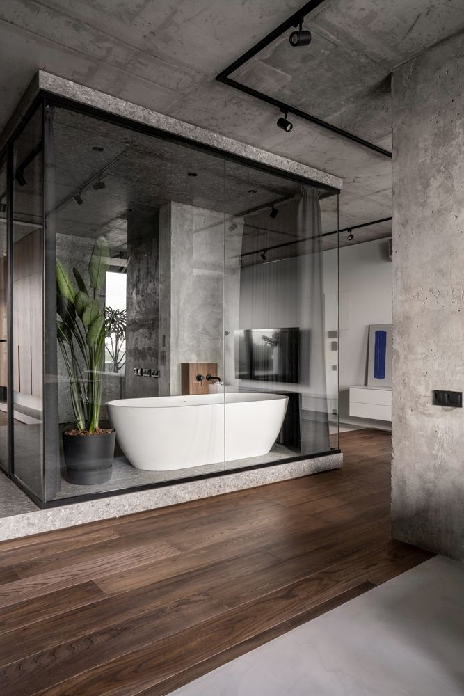 The bathroom is at the center of the apartment and has a stylish and sophisticated design