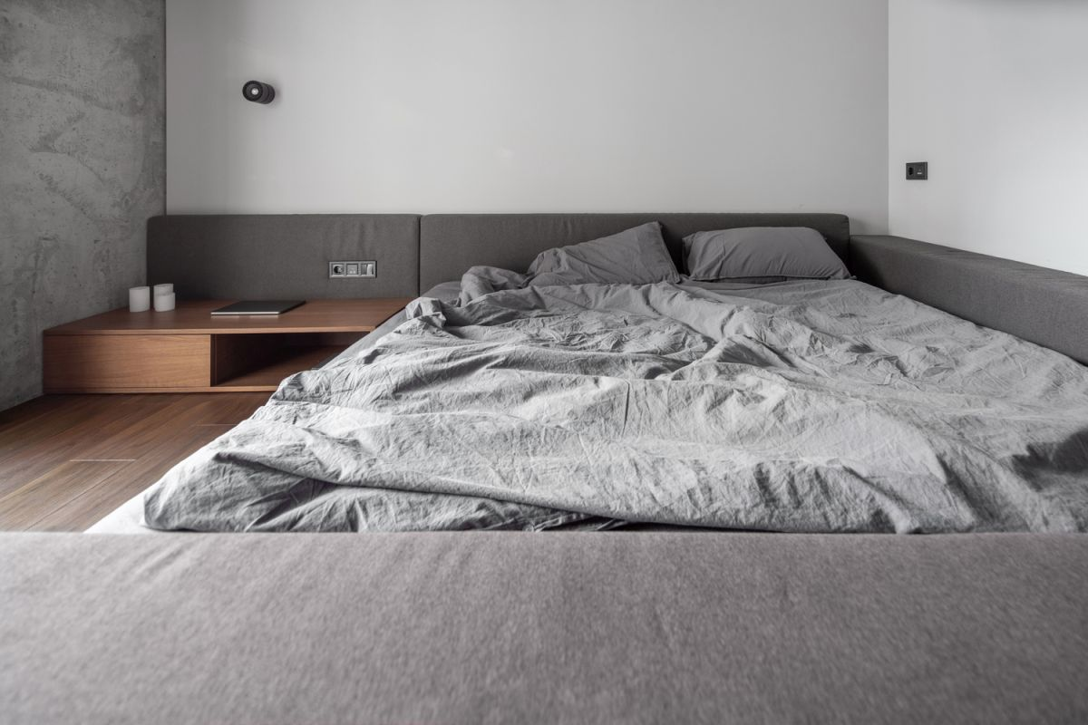 The bed has a low platform and a 2m x 2m mattress which makes a variety of sleeping positions possible