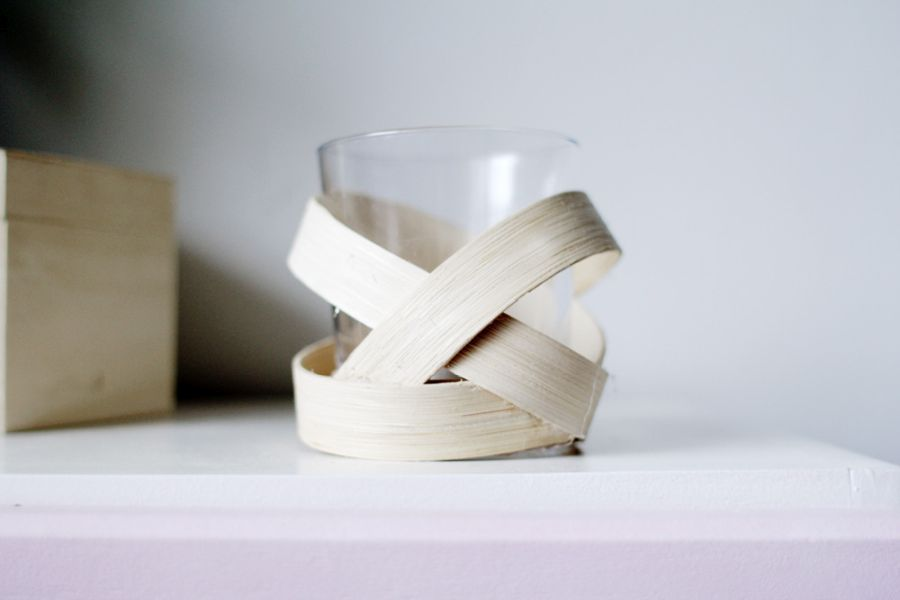 A chic wooden strip candle votive