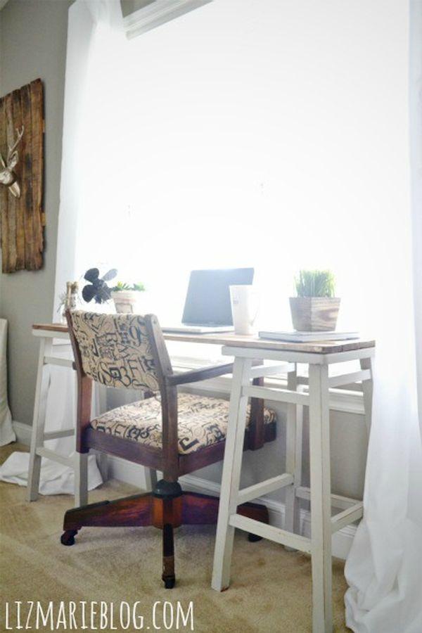 A desk made of bar stools
